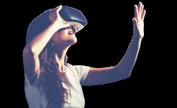 Jeune fille teste la realite virtuelle au chateau Vaillant internat college lycee esport