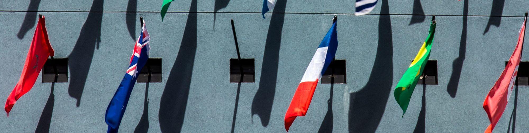 drapeaux internationaux au chateau Vaillant internat college lycee esport